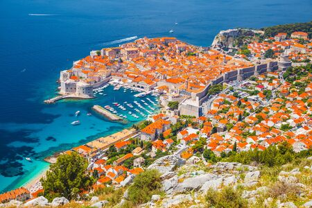 Fantastic view at famous european city of Dubrovnik on a sunny day. Location place Croatia, South Dalmatia, Europe. Mediterranean resort,Discover the beauty of earth.