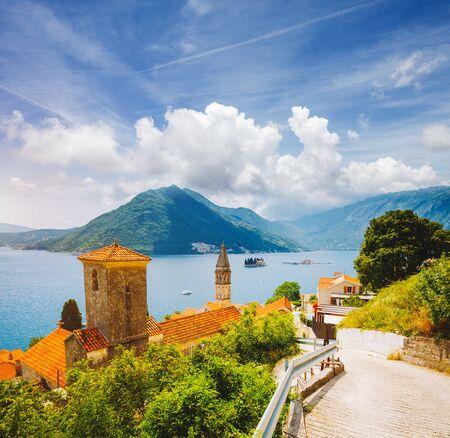 Wonderful scene of famous Kotor bay (Boka Kotorska) and St. Nikola Church. Location place Perast, Montenegro, Adriatic sea, Europe. Scenic image of tourist destination. Discover the beauty of earth. Banco de Imagens