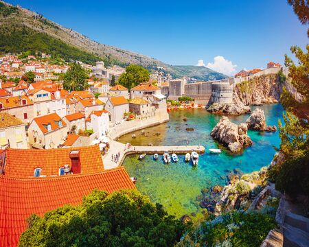 Splendid view at famous european city of Dubrovnik on a sunny day. Location place Croatia, South Dalmatia, Europe. Mediterranean resort