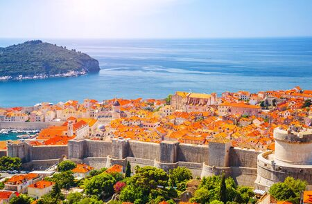 Fantastic view at famous european city of Dubrovnik on a sunny day. Location place Croatia, South Dalmatia, Europe. Mediterranean resort