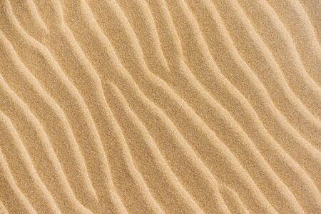 Top view of sandy beach and visible sand texture. Background template with copy space. Closeup yellow sand on the tropical coast in summer time. Gold desert in sunny day. Beauty of earth.