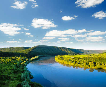 Attractive top view of the Dnister river valley. Location place of Dniester national park, Ukraine, Europe. Drone photography. Summer vacation concept. Exotic wallpapers. Discover the beauty of earth.