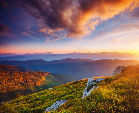 Perfect evening landscape in the mountains at sunset. Colorful cloudy sky. Location place of Carpathian national park, Ukraine, Europe. Incredible natural wallpaper. Discover the beauty of earth.