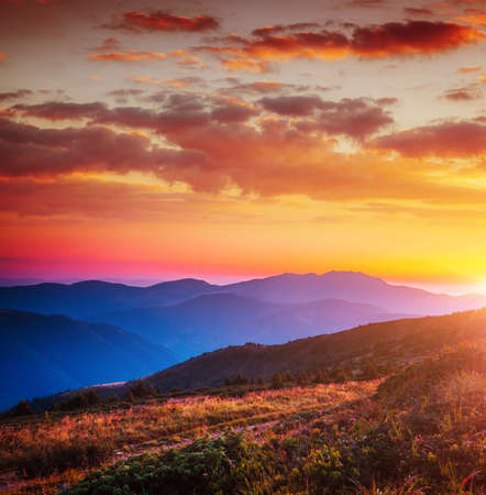 Alpine mountains are illuminated by the sunset. Picture of colorful cloudy sky. Location place of Carpathian national park, Ukraine, Europe. Splendid natural wallpaper. Discover the beauty of earth.