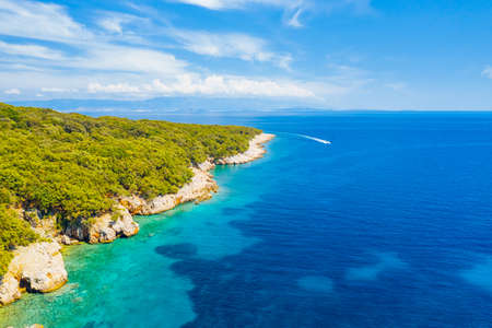 Splendid view of the  lagoon on sunny day. Location place Kvarner Gulf, Cres island, Croatia, Europe. Drone photography. Summer vacation concept. Exotic wallpapers. Discover the beauty of earth. Banco de Imagens