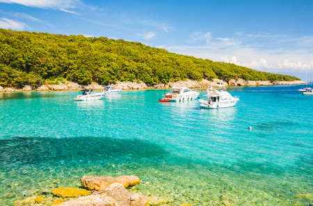 Fantastic view of the tropical blue lagoon on a sunny day. Location place Kvarner Gulf, Cres island, Croatia, Europe. Summer vacation concept. Exotic wallpapers. Discover the beauty of earth.