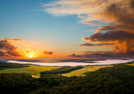 Attractive top view on rural landscape at dawn. Location place Dnister or Dniestr canyon, Ukraine, Europe. Drone photography. Summer vacation concept. Exotic wallpapers. Discover the beauty of earth.