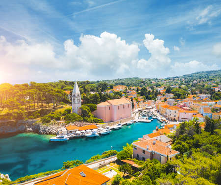 Scenic view of the lagoon village Veli Losinj on sunny day. Location place Kvarner Gulf, island Losinj, Croatia, Europe. Drone photography. Summer vacation concept. Discover the beauty of earth. Standard-Bild - 158672868