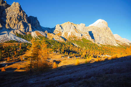Beautiful view of the Mt. Tofana di Rozes from Falzarego pass. Location Cortina d'Ampezzo, Dolomiti, South Tyrol, Italy, Europe. Scenic image of idyllic autumn wallpaper. Discover the beauty of earth.