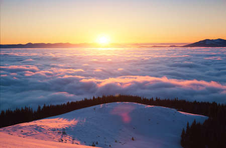Incredible air view of the valley covered with dense fog. Location Carpathian mountain, Ukraine, Europe. Magical wintry scene. Perfect winter wallpaper. Drone photography. Explore the beauty of earth.