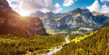 Scenic surroundings near the glacial lake Oeschinensee. Location place Swiss alps, Kandersteg, Bernese Oberland, Europe. Popular tourist attraction. Natural wallpapers. Discover the beauty of earth.