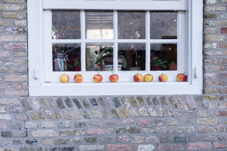 Red and yellow apples lying on a white windowledge of a farm for decoration Reklamní fotografie