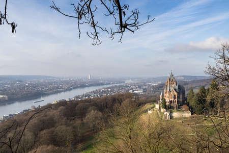 Overview of Castle Drachenburg Siebengebirge and River Rhine Bonn Germany Stockfoto