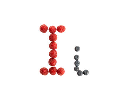Alphabet I from fresh fruit, raspberry and blackberry, isolated on a white background Imagens