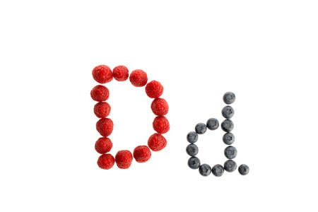 Alphabet D from fresh fruit, raspberry and blackberry, isolated on a white background Imagens