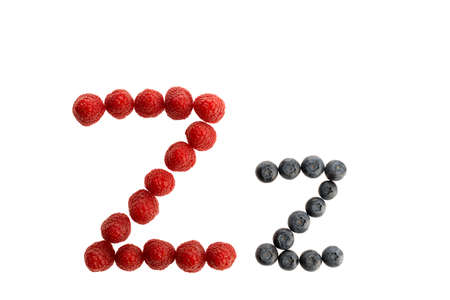 Alphabet Z from fresh fruit, raspberry and blackberry, isolated on a white background