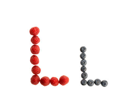 Alphabet L from fresh fruit, raspberry and blackberry, isolated on a white background Imagens - 155423533