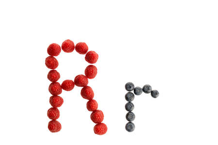 Alphabet R from fresh fruit, raspberry and blackberry, isolated on a white background