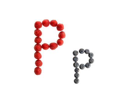 Alphabet P from fresh fruit, raspberry and blackberry, isolated on a white background