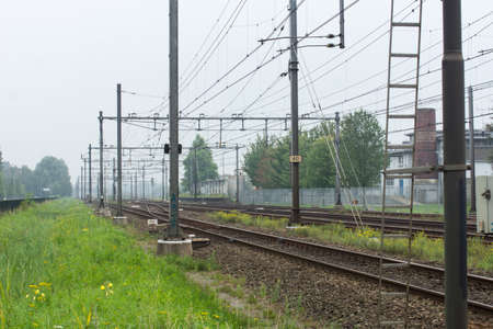 Railway, rail track with grassland and yellow flowers, transportation
