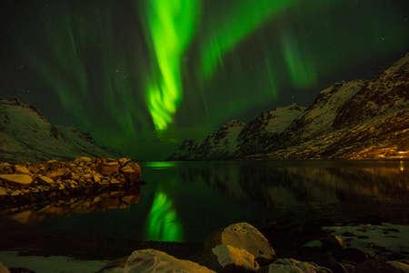 Green nordic lights, aurora borealis, Erstfjordsbotn, Kvaloya, Tromso, Norway with mountains and a fjord 免版税图像