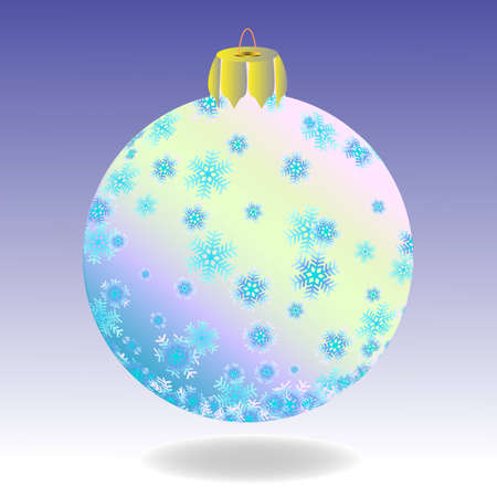 Striped fur-tree ball with snowflakes on a violet background.