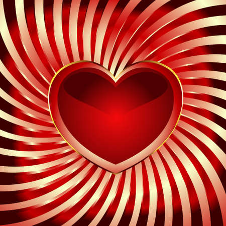 Red heart lies on the bent golden lines. There is a variant in a vector.