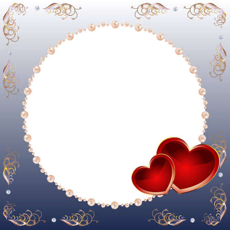 Square card by day of Valentine in dark blue tones, with red hearts and a pearl framework. Stock Photo - 6280725