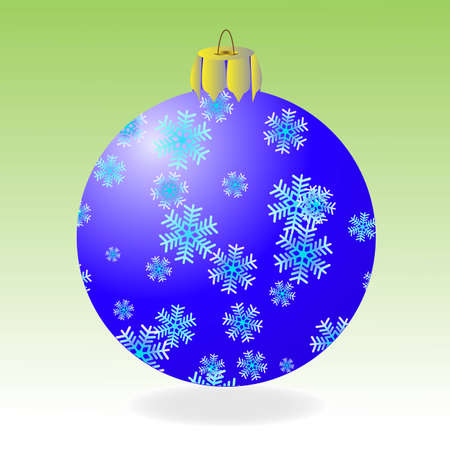 Dark blue fur-tree ball with snowflakes on a green background