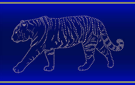 Dark blue tape with a tiger.