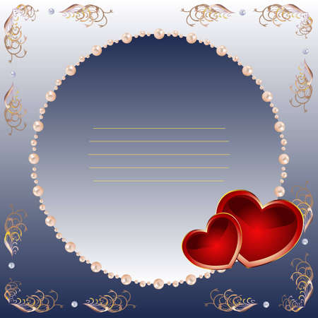Square card by day of Valentine in dark blue tones, with red hearts and a pearl framework.