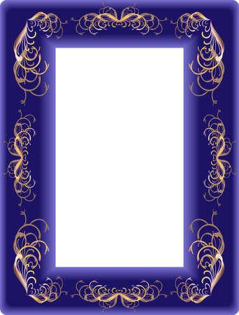 terciopelo azul: Hermoso marco rectangular de un terciopelo azul oscuro con un ornamento vegetativo en tonos dorados.