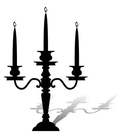 candelabrum: Silhouette of a graceful candelabrum with burning candles.