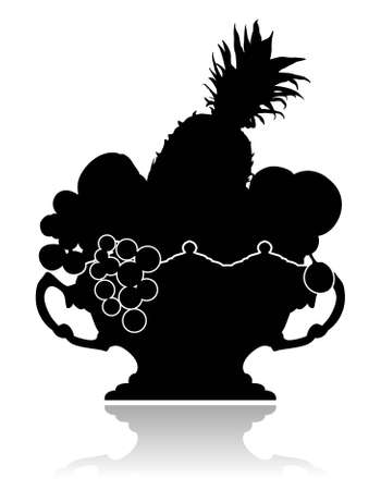 Silhouette of a graceful vase with fruit on on a white background. Vector