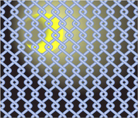 The bright growing moon behind a mesh fence Vector