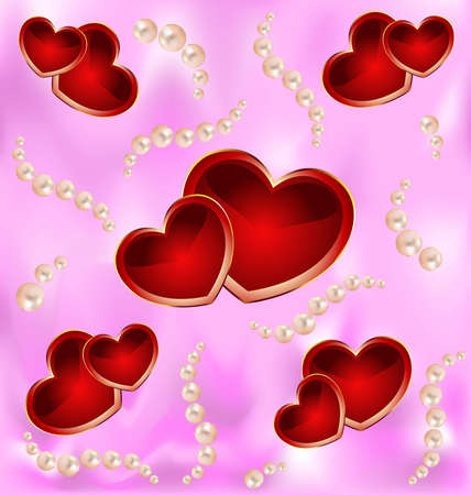 feminity: Romantic   background with hearts and pearls. Illustration