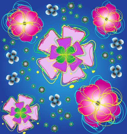 Flower design on a dark blue background Vector
