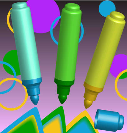Three multi-coloured opened markers and cap on an abstract background. Vector