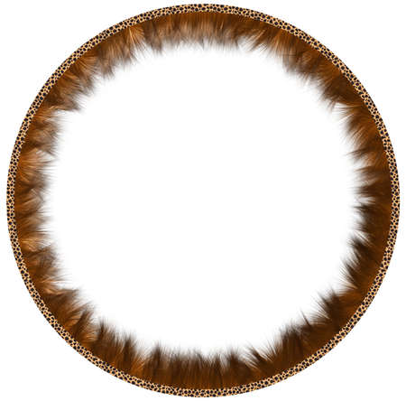 fleecy: Round framework made of fur with leather rim on a white background.