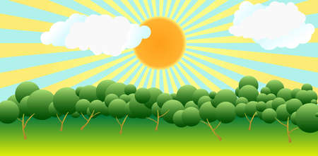 bright sun, radiating sunshine, clouds, trees and meadows. Stock Photo - 8019372