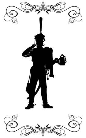Silhouette of a Russian hussar, holding a mug of beer. photo
