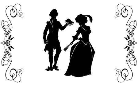 The young man in a XIX-th century suit reads verses to the girl in the elegant dress, holding a fan. photo