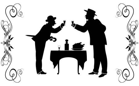 horizontal bar: Two men in suits of XIX century have dinner at restaurant.
