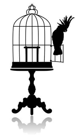 Silhouet van een grote ronde vogelkooi, staande op de salontafel. Kaketoe zit op de deur