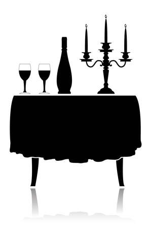 coberto: Silhouette romantic restaurant table with tablecloth, wine glasses, wine and candelabrum.