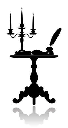 tabletop: Silhouette of a coffee table with a candelabrum, inkwell and an open book.