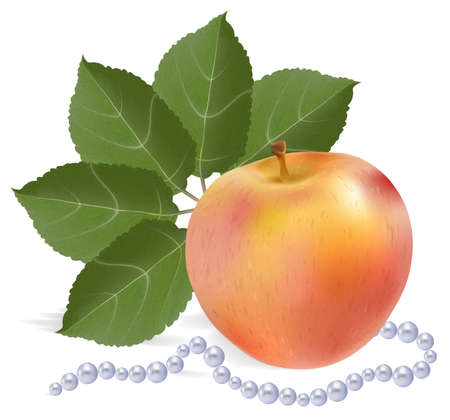 pearls and threads: Still-life with an apple Stock Photo