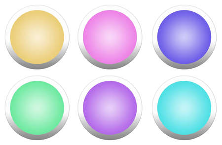 Beautiful multi-colored round buttons isolated on white background  photo