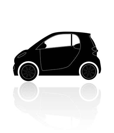 white car: Una silhouette di una vettura