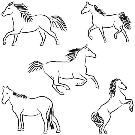 Drawn stylized horses Vector